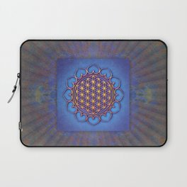 Flower Of Live Lotus - Golden Shine On Blue Beauty II Laptop Sleeve