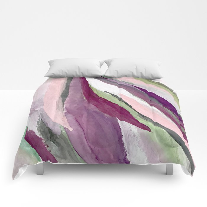 Blossom [3]: a pretty acrylic piece in greens, pinks, white, and purple. Simple minimal elegant Comforters