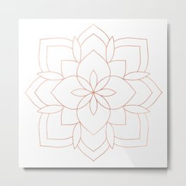 Mandala Rose Gold Pink Art Deco Metal Print