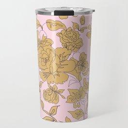 Mustard Pink Vintage Floral Travel Mug