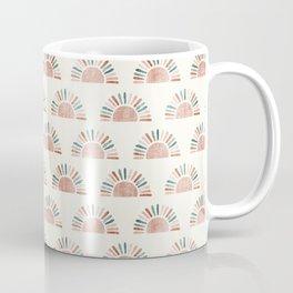 block print suns - jade and dusty rose Coffee Mug