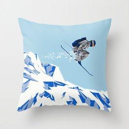 Airborn Skier Flying Down the Ski Slopes Throw Pillow