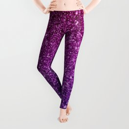 Pretty Sparkly Pink & Purple Glitter Gradient Leggings