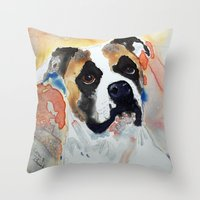 boxer Throw Pillows featuring Boxer by Bowles Fine Paintings