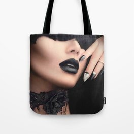 Fashion model girl with black gothic Tote Bag