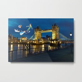 Peter Pan and the London Bridge Metal Print