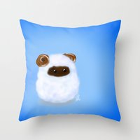 sheep Throw Pillows featuring Sheep by quackso