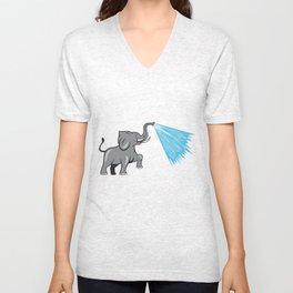 Elephant Marching Spraying Water Cartoon Unisex V-Neck