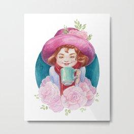 Watercolor Cute Girl in Flowers Metal Print