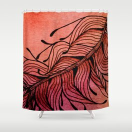 Doodled Autumn Feather 01 Shower Curtain