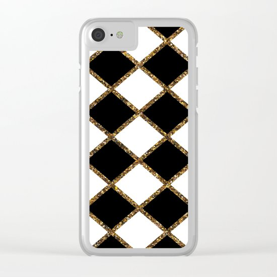 Geometric ornament gold seamless pattern. Modern art deco stylish texture. Gold trendy glitter print Clear iPhone Case
