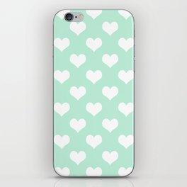Mint Green Sweet Heart iPhone Skin