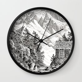 BEYOND MOUNT SHUKSAN BLACK AND WHITE VINTAGE PEN DRAWING Wall Clock