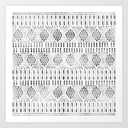 Aztec I Pattern Black and White Art Print