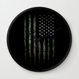 Khaki american flag Wall Clock