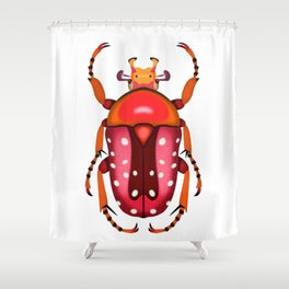 Orange and Red Beetle Shower Curtain