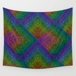 Multicoloured hypnotic diamond trance pattern Wall Tapestry