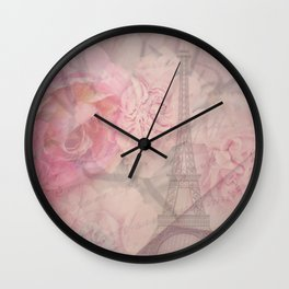 Parisian Romantic Collage Wall Clock
