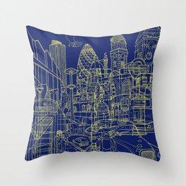 London! Navy Throw Pillow