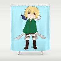 snk Shower Curtains featuring Armin by Sir-Snellby