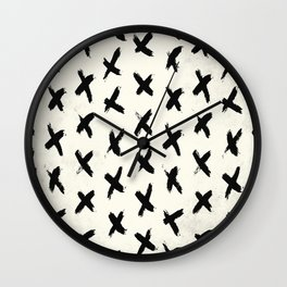 Black X on Ivory Wall Clock