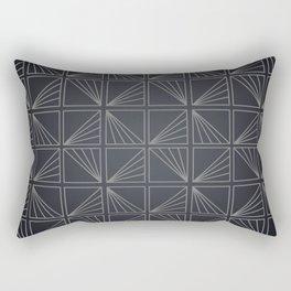 Grey Lined Square Geometric Patterns Rectangular Pillow