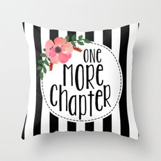 One More Chapter - Black Stripes Throw Pillow