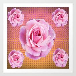 PINK GARDEN ROSES OPTICAL PATTERN ART Art Print