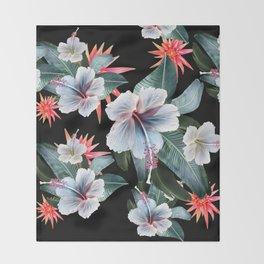 Tropical banana leaf, hibiscus vintage style, Hawaiian decor, retro Throw Blanket