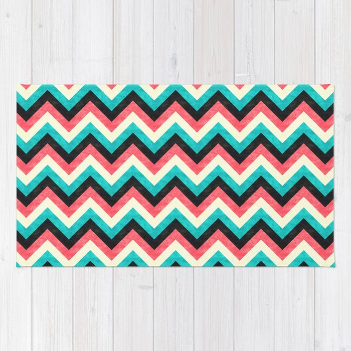 Chevron - Coral Turquoise Black Rug By Mjmstudio