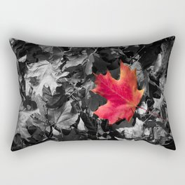 Singled Out Red Maple Leaf Rectangular Pillow