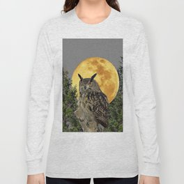GREY WILDERNESS OWL WITH FULL MOON & PINE TREES Long Sleeve T-shirt