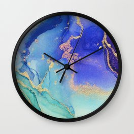 Golden Waves - Abstract Ink - Part 2 Wall Clock