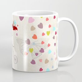 Red haired girl French polka dots dress riding retro bike bicycle backet full of hearts everywhere Coffee Mug