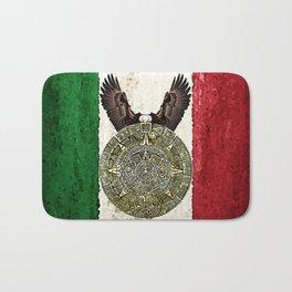 MEXICAN EAGLE AZTEC CALENDAR FLAG Bath Mat
