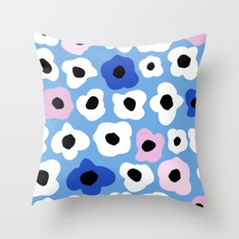 Pink Pop and Blue Contemporary Floral Pattern Throw Pillow