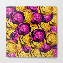 rose pattern texture abstract background in pink and yellow Metal Print