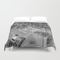 washington dc Duvet Covers featuring Washington DC Street Map by Color and Form