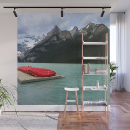 Lake Louise Red Canoes Wall Mural