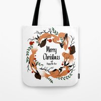 merry christmas Tote Bags featuring Merry Christmas by Anya Volk
