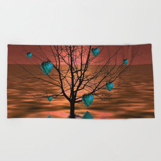 Magical Turquoise Heart Tree Beach Towel