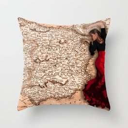 bailarína de flamenco Throw Pillow