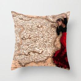 bailarína de flamenco Throw Pillow