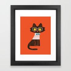 Fitz - Preppy cat Framed Art Print