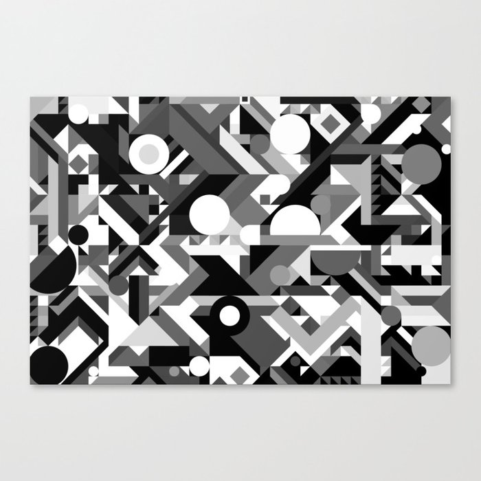 Geometry Shapes Pattern Print Black And White Color Scheme Canvas By Aej Design Society6