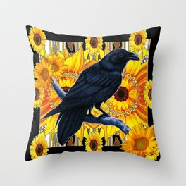 GRAPHIC BLACK CROW & YELLOW SUNFLOWERS ABSTRACT Throw Pillow