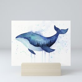 Blue Galaxy Whale Mini Art Print