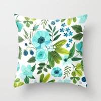 oana befort Throw Pillows featuring FLORA BLUES by Oana Befort