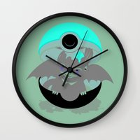 how to train your dragon Wall Clocks featuring How To Catch Your Dragon by Matt Dearden