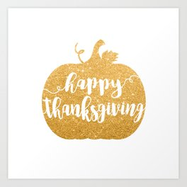Happy Thanksgiving | Orange Glitter Pumpkin Art Print
